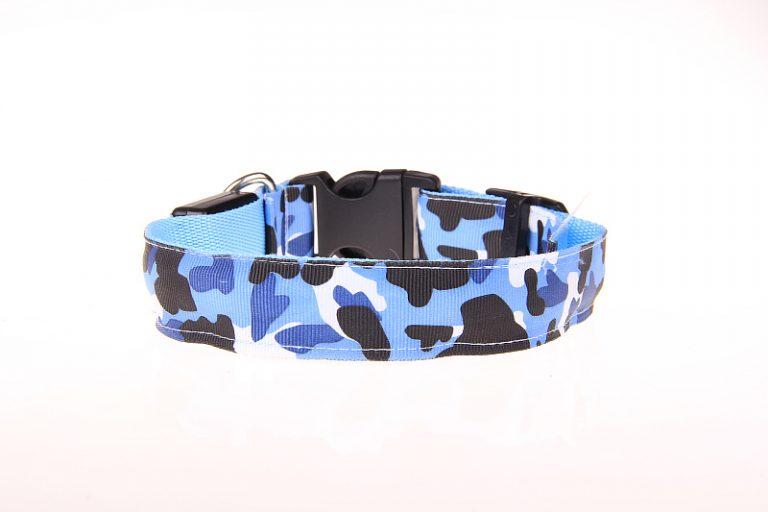 Camouflage LED Halsband Blauw