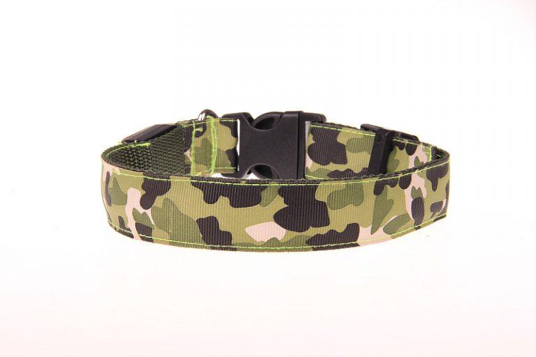 Camouflage LED Halsband Legergroen
